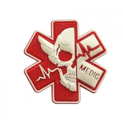 Medic kereszt koponyával felvarró